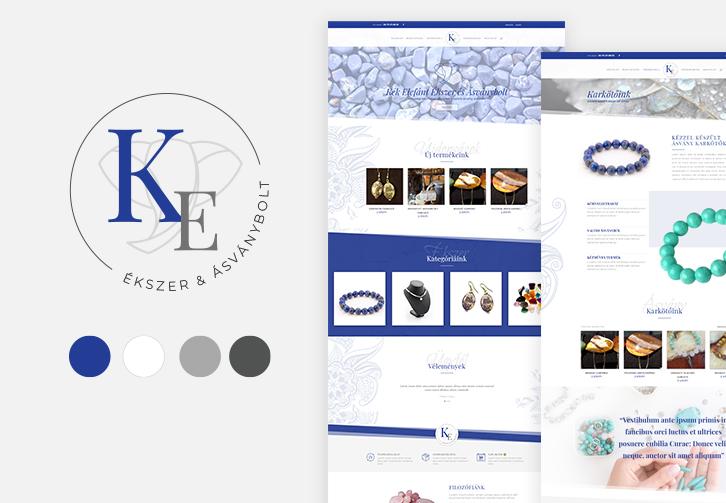 Kék Elefánt Ékszer és Ásványbolt logó és webshop tervezés