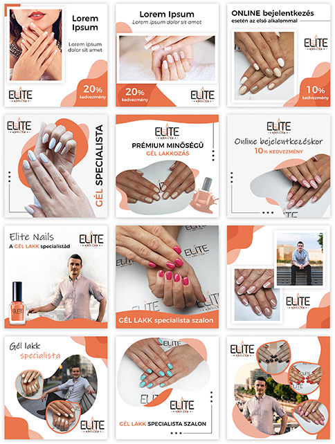 Elite Nails Facebook hirdetés sablonok